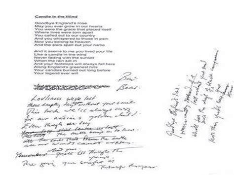 elton john candle in the wind lyrics handwritten lyrics of elton john song candle in the wind