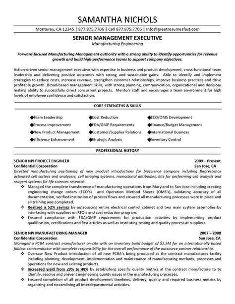 senior management executive manufacturing engineering resume