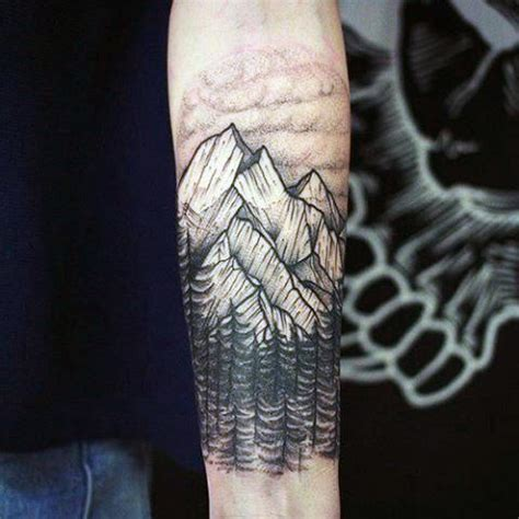 tree and mountain tattoo 70 pine tree ideas for wood in the wilderness