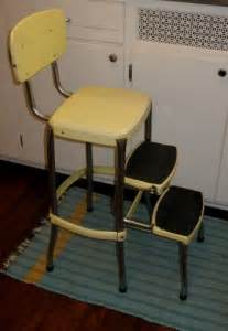 vintage retro folding step stool yellow with chrome
