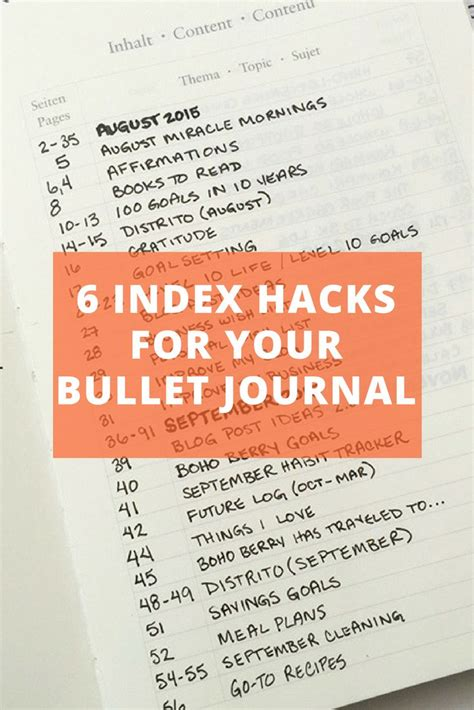 Bullet Journal Hacks by Best 25 Index Journal Ideas On Pinterest Bullet Journal