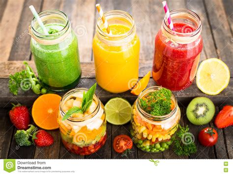 2 fruit 5 veg smoothie healthy fruit and vegetable salad and smoothies stock