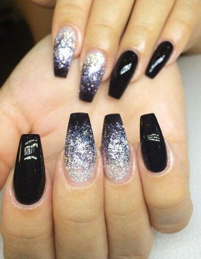 moon shape ombre glitter nail art pinterest black ombr 233 glitter nails naildesign nailart