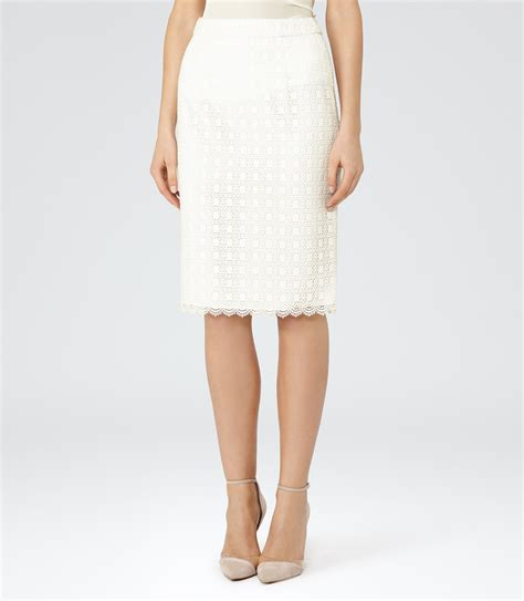 white lace pencil skirt reiss