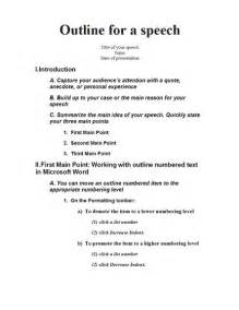 template for a speech speech outline templates school templates
