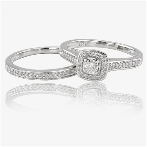 9ct white gold cluster bridal 2 ring set