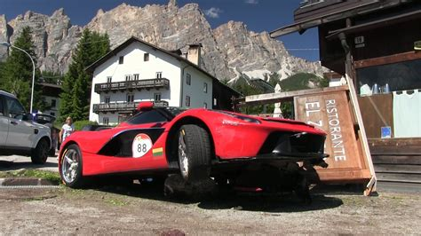 laferrari crash 4million laferrari hypercar crashes onto boulder in italy