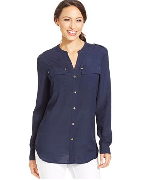 Macy S White Button Blouse by Charter Club Button Utility Blouse Tops