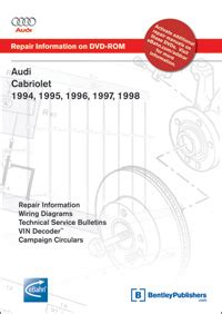 old car repair manuals 1994 audi cabriolet electronic toll collection audi cabriolet 1994 1995 1996 1997 1998 repair manual on dvd rom bentley publishers
