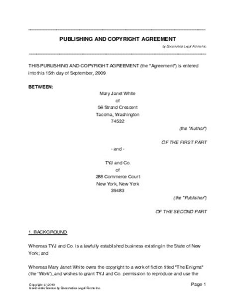 copyright agreement template free publishing and copyright agreement usa