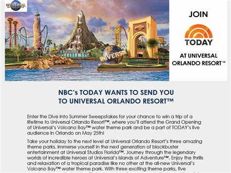 Today Show Universal Studios Sweepstakes - universal orlando resort dive into summer sweepstakes