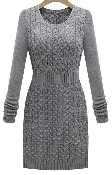 grey cable knit sweater dress grey sleeve cable knit sweater dress sheinside