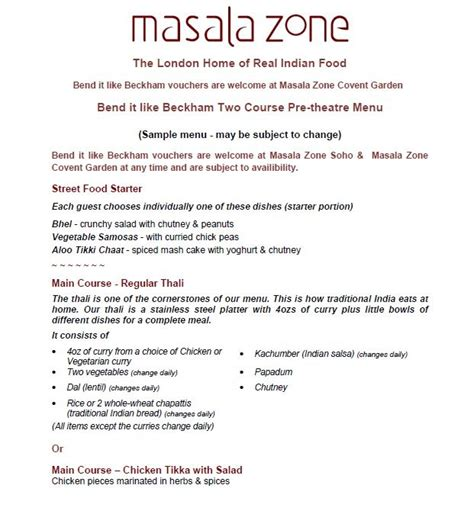 masala zone covent garden menu bend it like beckham band a ticket and a 2 course meal at