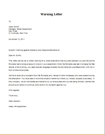 professional warning letter templates formal word