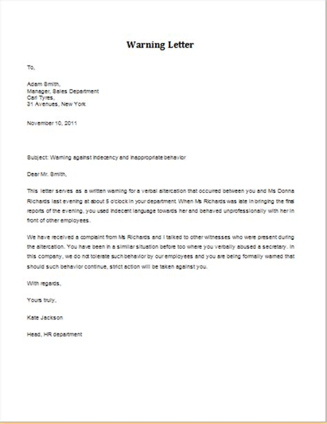 Labour Letter Of Warning 7 Professional Warning Letter Templates Formal Word Templates