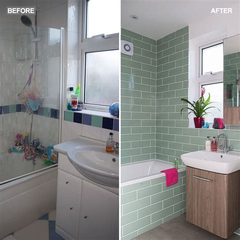 green bathroom makeover with tropical wallpaper