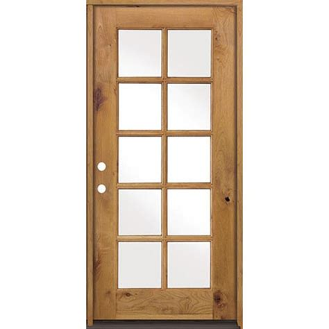 Wooden Exterior Doors With Glass Krosswood Doors 32 In X 80 In Classic Alder 10 Lite Clear Low E Glass Right