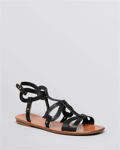gladiator flat shoes via spiga flat gladiator sandals donnie in black lyst