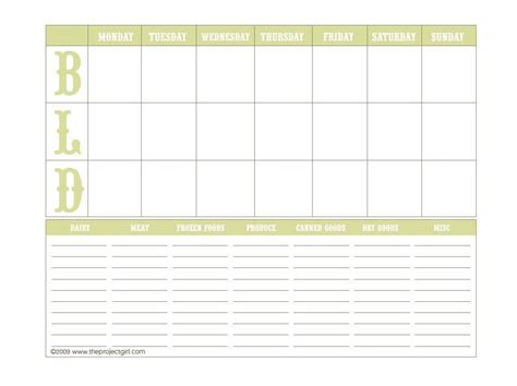 food planning template downloadable weekly menu planner