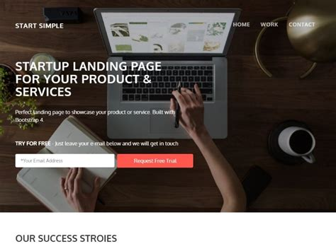 Start Simple Landing Page Template For Startups And Small Business Templateflip Start Page Template