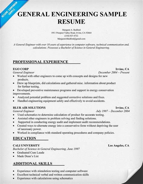 fantastic resume format in engineering student general engineering resume sle resumecompanion