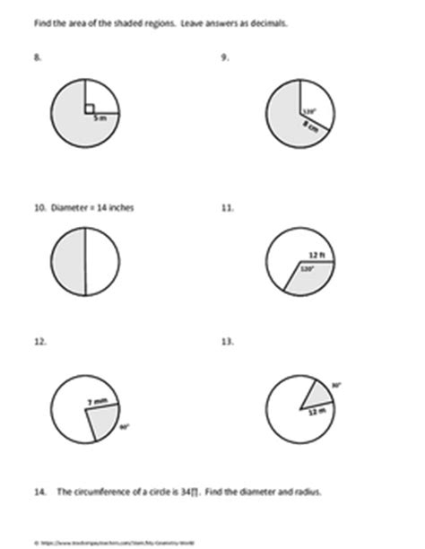 Arc Length And Area Of A Sector Worksheet by Geometry Worksheet Arc Length And Sector Area By My