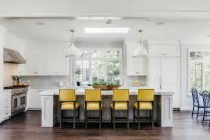 Yellow Leather Counter Stools by White Cottage Kitchen With White Leather Counter Stools