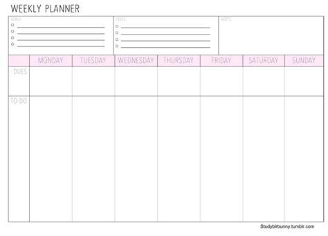 printable weekly planner studyblr study bunny