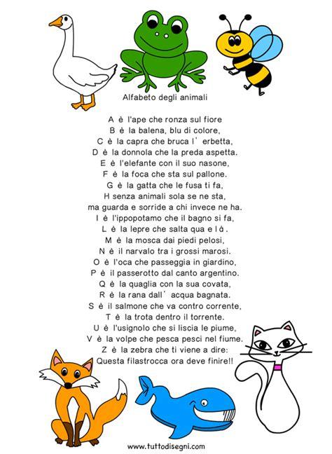 filastrocca delle lettere dell alfabeto filastrocca alfabeto animali progetti da provare