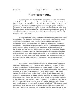 Ratifying The Constitution Dbq 4 Essay by Dbq Essay On The Constitution