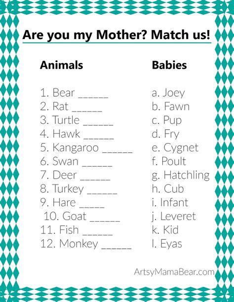 printable animal babies match game animal matching baby shower game free printable artsy
