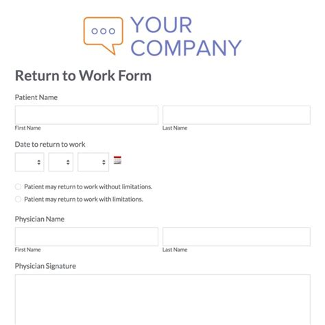 return to work slip template return to work form employee clearance form