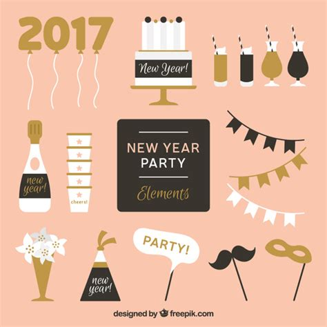 new year element vector free golden and black element for new year vector free