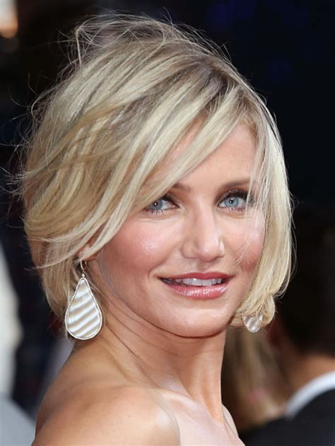 shoulder length hairstyles with long chin lenghth pieces in front cameron diaz choppy bob haircut hair styles pinterest