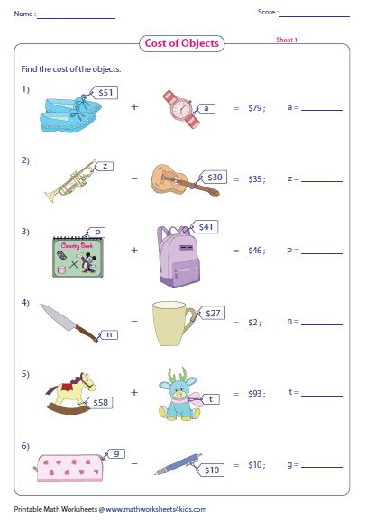 One Step Equations Worksheets by One Step Equation Worksheets