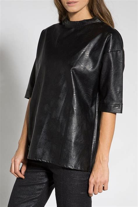 Mine Black Rosey Blouse b mine faux leather blouse from tel aviv by bmine shoptiques