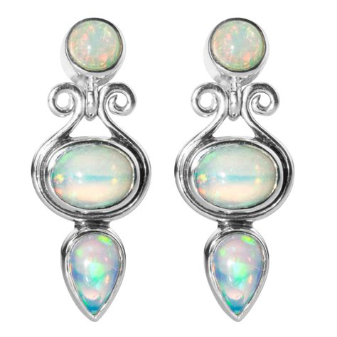 Opal Kode 137 earrings in iridescent abyssinian opal from shipton and