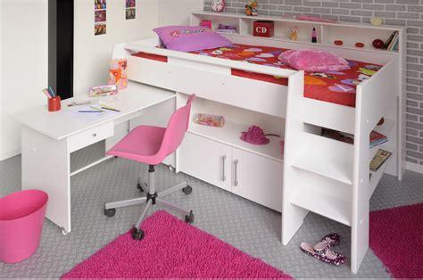 lit demi hauteur lit combin 233 blanc avec bureau rangement novomeuble