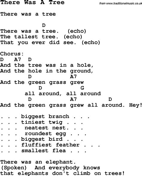 song in summer c song there was a tree with lyrics and chords