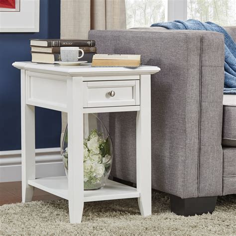 White Side Tables For Living Room - oxford creek ellason charging accent table in white home