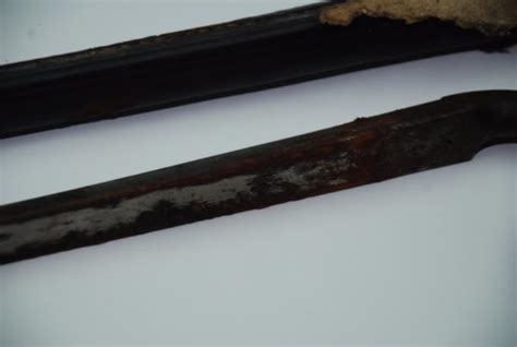 3 sided blade antique 1853 reeves 2 socket bayonet w scabbard 3 sided