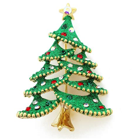 green christmas tree swarovski crystal pin broach