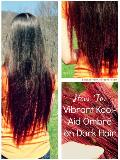 black cherry kool aid hair dye how to vibrant kool aid ombre on dark hair tutorial black