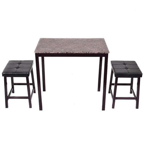 Bar Height Kitchen Table And Chairs 3 Pcs Counter Height Dining Set Faux Marble Table 2 Chairs Kitchen Furniture Bar Ebay