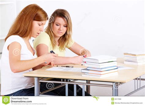 Students Learning At Desk Royalty Free Stock Photos Students At Desk