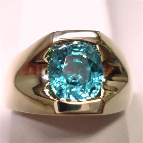 14k Yellow Gold Oval Blue Zircon Mens Ring