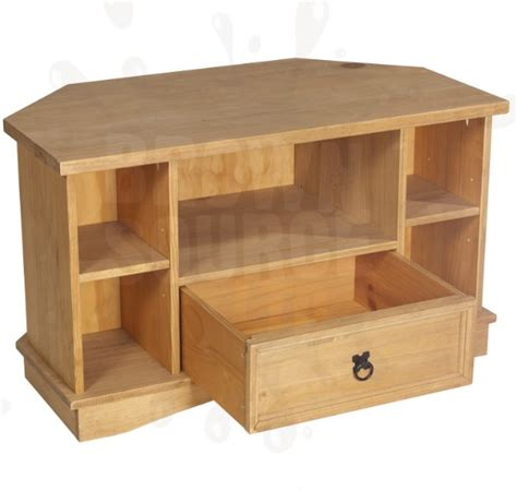pine tv stand corner 1 draw solid wood television cabinet