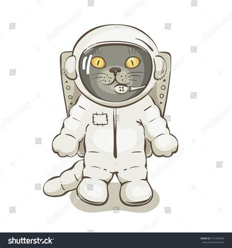 Vector Cat In Space cat astronaut vector illustrations grey stock vector