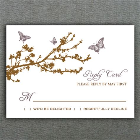 rsvp card template butterfly branch rsvp card template print