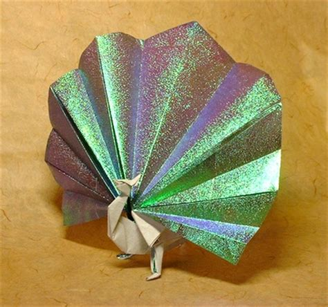 Money Origami Peacock - tetrahedron pattern template 100 free patterns